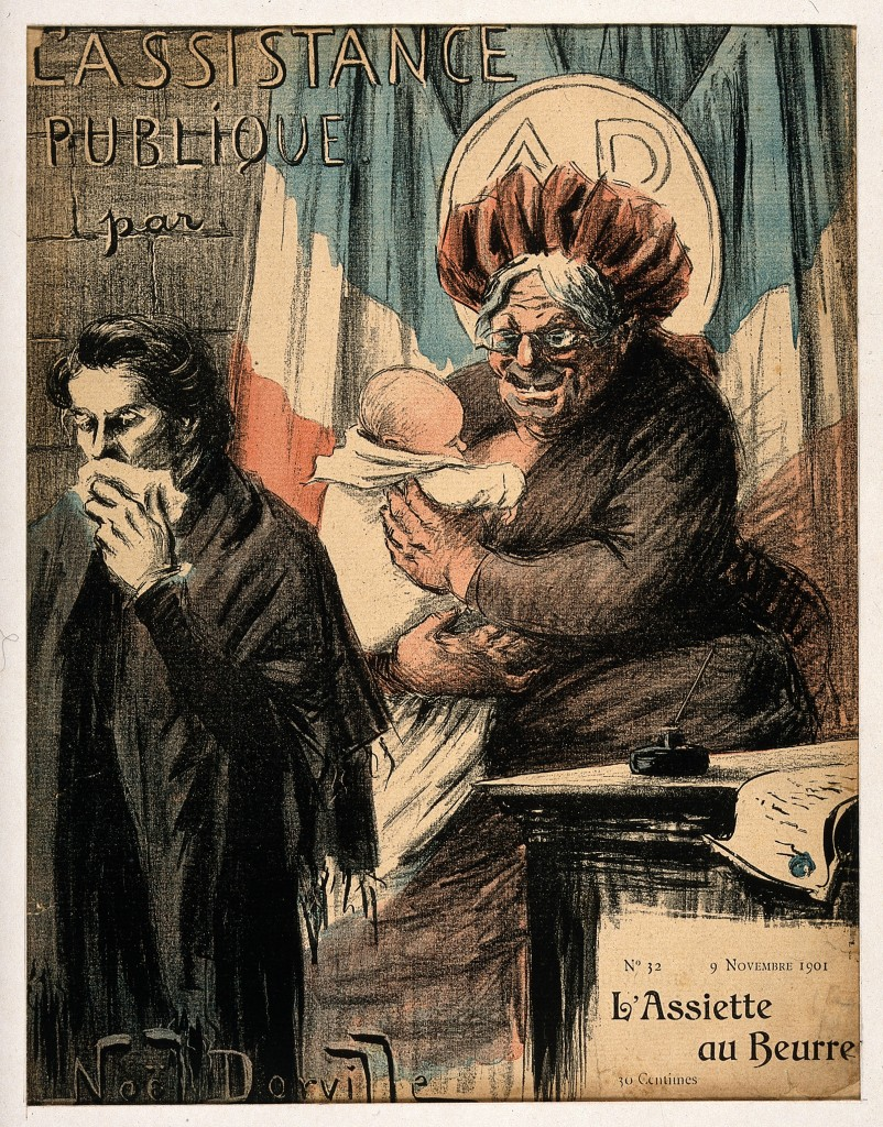 V0011830 An old wet nurse; symbolising France as nanny-state and publ Credit: Wellcome Library, London. Wellcome Images images@wellcome.ac.uk http://wellcomeimages.org An old wet nurse; symbolising France as nanny-state and public health provider. Colour photomechanical reproduction of a lithograph by N. Dorville, 1901. 1901 By: Noël DorvillePublished: - Copyrighted work available under Creative Commons Attribution only licence CC BY 4.0 http://creativecommons.org/licenses/by/4.0/